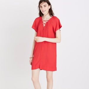 Madewell lace up flutter sleeve mini dress